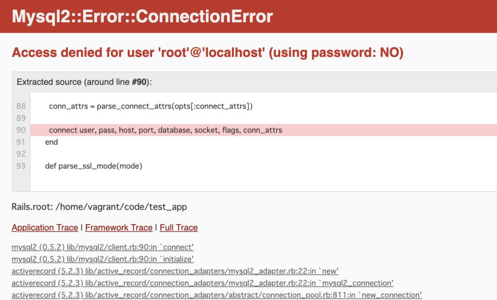 Mysql2::Error::ConnectionError Access denied for user 'root'@'localhost' (using password: NO)